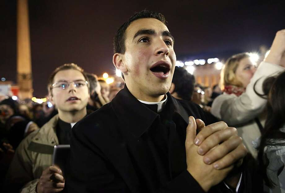 VATICAN CITY, VATICAN - MARCH 13:  A man reacts as newly elected Pope Francis I appears on the central balcony of St Peter's Basilica on March 13, 2013 in Vatican City, Vatican. Argentinian Cardinal Jorge Mario Bergoglio was elected as the 266th Pontiff and will lead the world's 1.2 billion Catholics.  (Photo by Dan Kitwood/Getty Images) Photo: Dan Kitwood, Getty Images