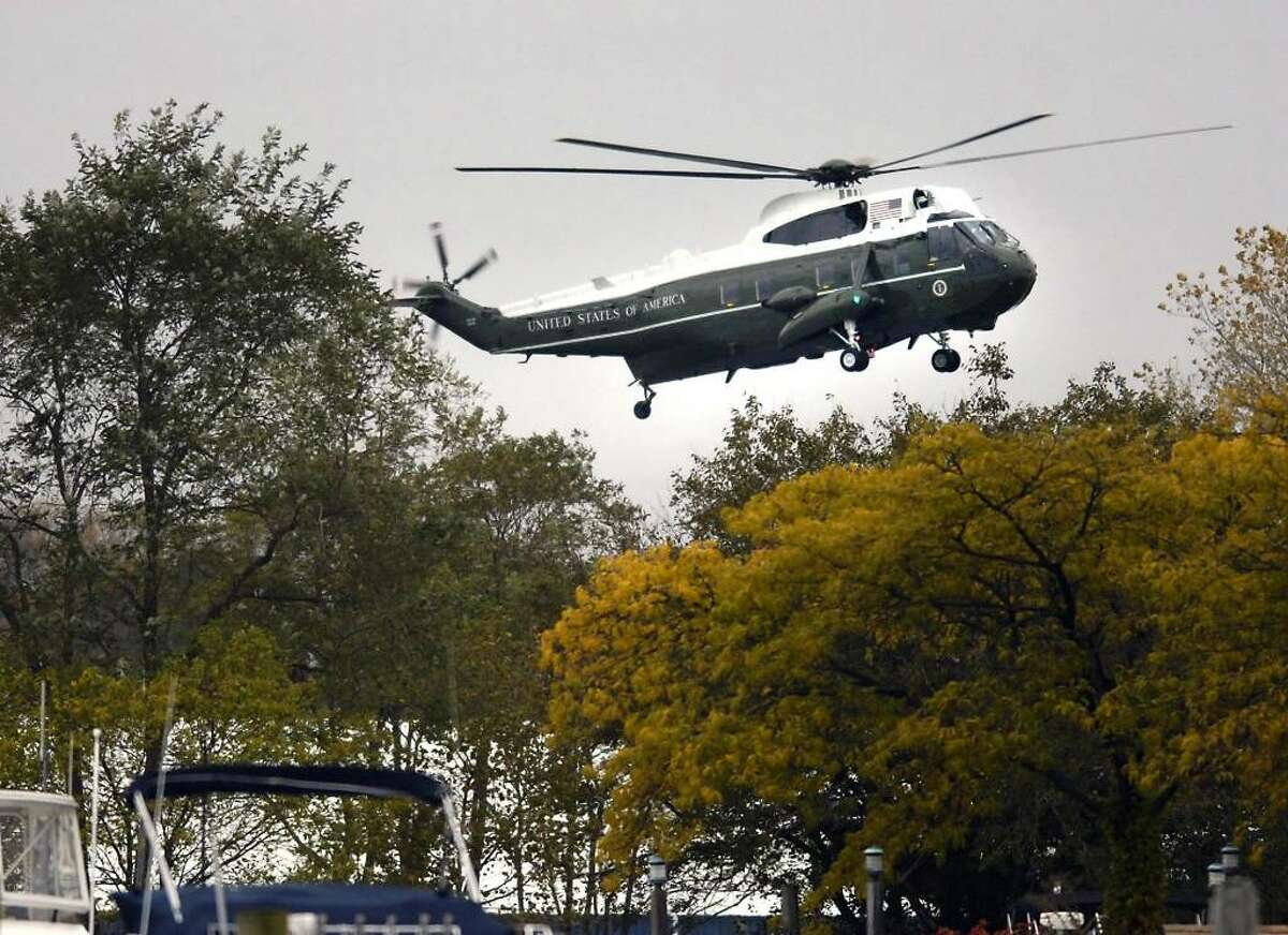 Marine One lands in Kosciuszko Park in Stamford, Connecticut, a little after 4:30 p.m. Friday afternoon. President Barack Obama was in the area to attend a fundraiser in Stamford for U.S. Senator from Connecticut, Chris Dodd (D-Conn.).