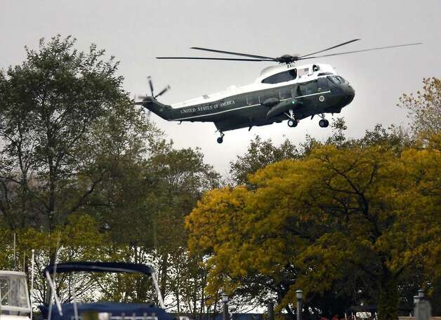 Marine One lands in Kosciuszko Park in Stamford, Connecticut, a little after 4:30 p.m. Friday afternoon.  President Barack Obama was in the area to attend a fundraiser in Stamford for U.S. Senator from Connecticut, Chris Dodd (D-Conn.). Photo: Bob Luckey / Stamford Advocate