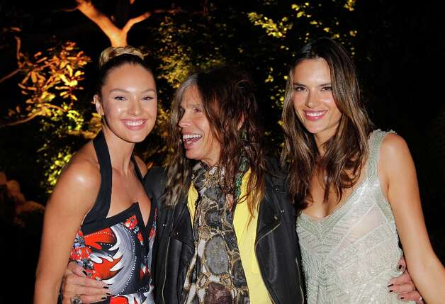 Model Candice Swanepoel, musician Steven Tyler, and model Alessandra Ambrosio attend Victoria's Secret SWIM 2013 Party hosted by Victoria's Secret angels Alessandra Ambrosio, Candice Swanepoel, and Karlie Kloss at a private residence on March 12, 2013 in Beverly Hills, California. Photo: Donato Sardella, WireImage / 2013 Donato Sardella