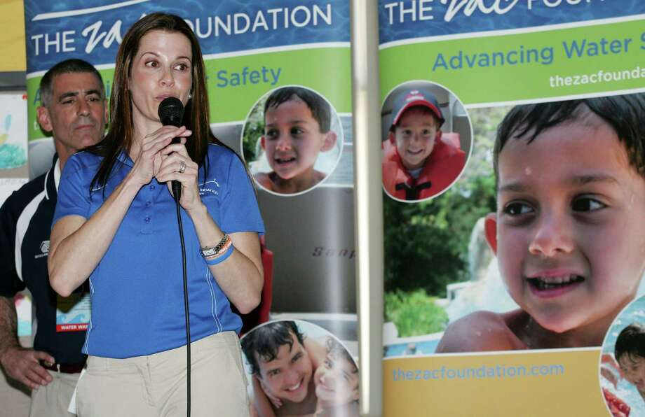 ZAC Foundation co-founder Karen Cohn spoke during the final day of the ZAC Camp, a week-long swimming instruction and water safety program at the Boys & Girls Club of Greenwich, April 13, 2012. Cohn, along with her husband Brian, established the foundation after their son Zachary drowned in a pool drain entrapment in his backyard swimming pool. Photo: David Ames / Greenwich Time