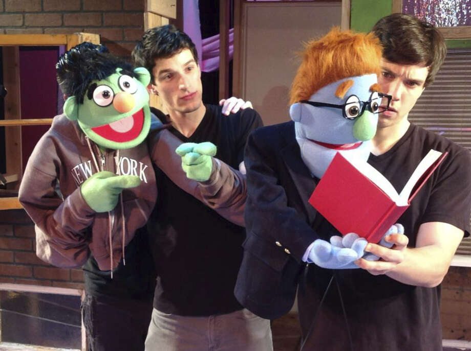 "Michael Lapinsky (from left) and Isaak Olson appear in adult-oriented musical ""Avenue Q."" Photo: Courtesy Photo"