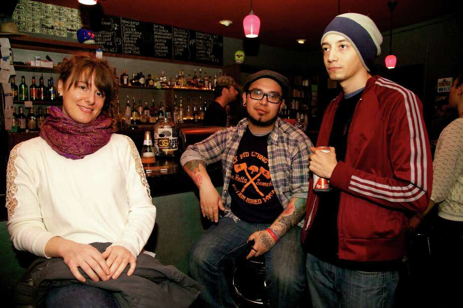 Nikki Bee, Jaime Sanchez, and Joshua Villanueva  hang out at the bar at the War Room.