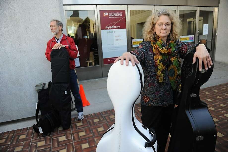 Barb Andres who plays the cello with the symphony,  strikes outside of Davies Symphony Hall in San Francisco on Wednesday, March 13, 2013. Photo: Susana Bates, Special To The Chronicle