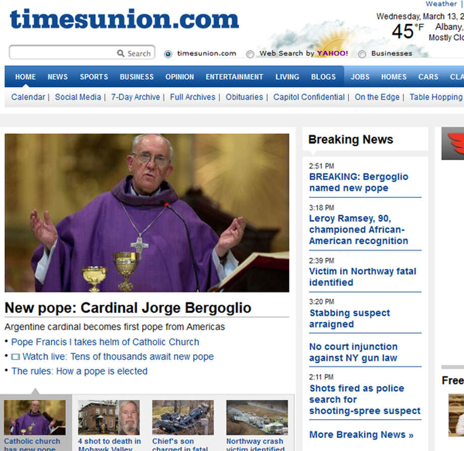 The new pope steps out onto the papal balcony to cheers from the thousands of people in St. Peter's Square. We watch it live on TV. Our main concern in the newsroom? Get a photo of him asap. While we wait for photo from Rome, we update tu dot com with a file photo of The Man Formerly Known as Cardinal Jorge Bergoglio.