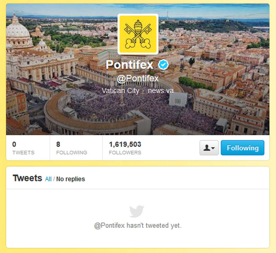 Here is a screenshot of the pope's Twitter account, taken approximately 2:30 p.m. All previous tweets done during the papacy of Pope Benedict XVI were deleted in late February. Note the number of followers: 1,619,503.