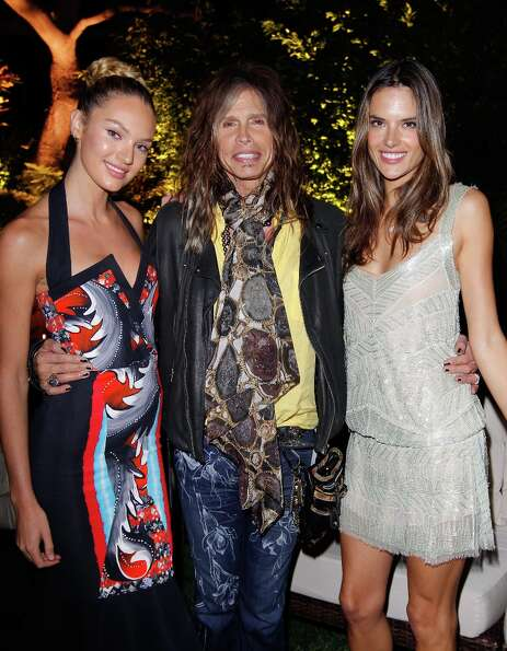 Model Candice Swanepoel, musician Steven Tyler, and model Alessandra Ambrosio attend Victoria's Secr