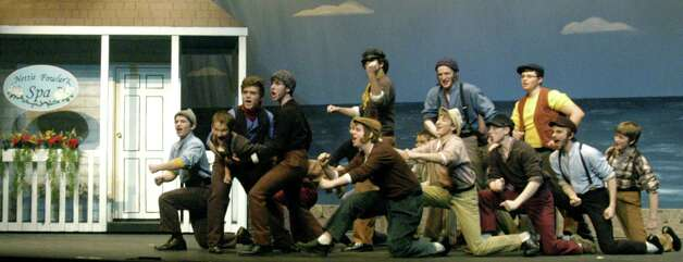 "Billy Bigelow, Jigger Crain and the boys frolic during a rehearsal staging of Carousel"" by students at New Milford Higjh School. March 2013 Photo: Norm Cummings"