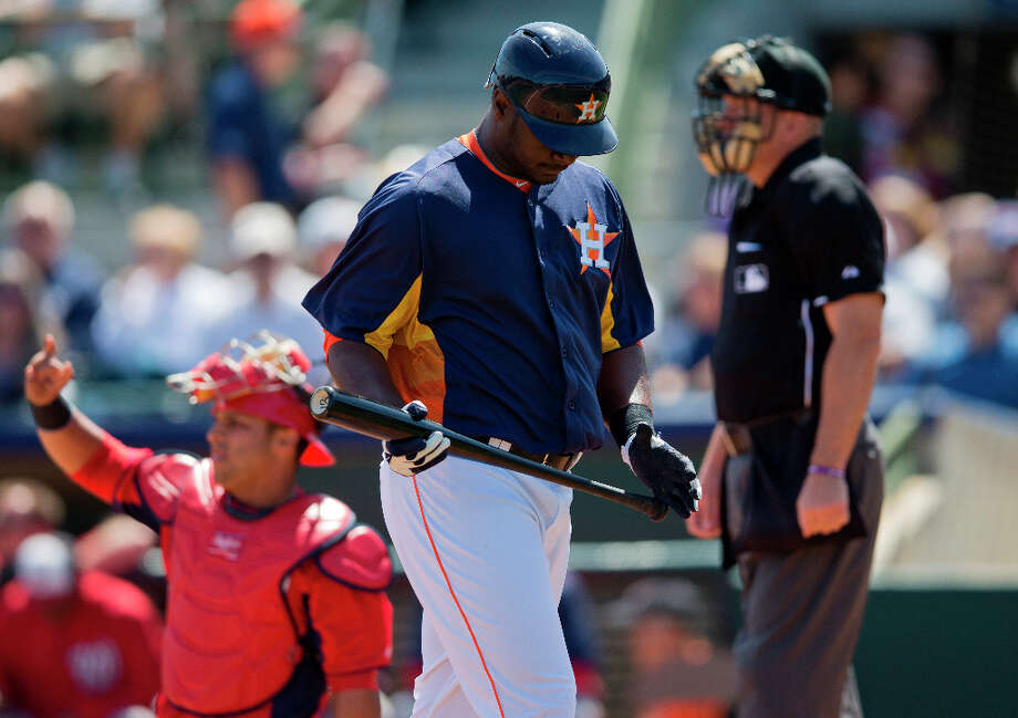 Nationals 9, Astros 7Astros DH Chris Carter walks to the bench after striking out during the first inning on Wednesday in Kissimmee, Fla. Photo: Evan Vucci, Associated Press / AP