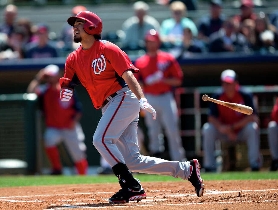Nationals infielder Anthony Rendon watches the ball fly of his bat. Photo: Evan Vucci, Associated Press / AP