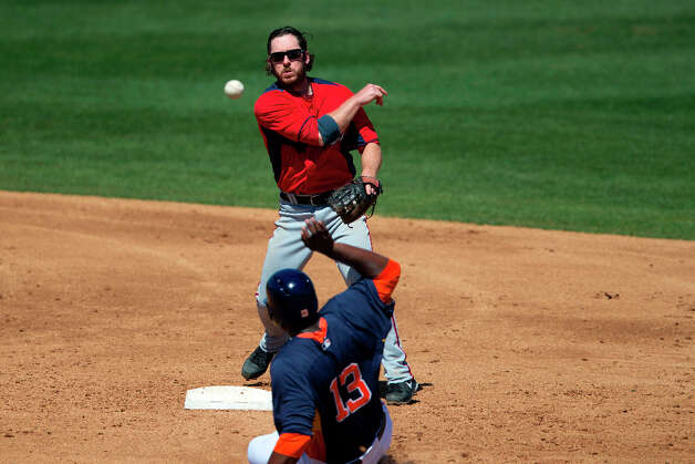 Nationals infielder Will Rhymes turns a double play as Astros DH Chris Carter slides into second base. Photo: Evan Vucci, Associated Press / AP
