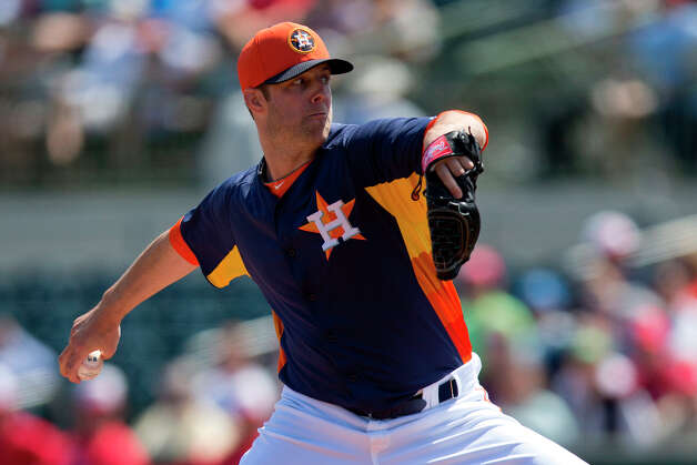 Astros pitcher Jordan Lyles delivers a pitch to the Nationals. Photo: Evan Vucci, Associated Press / AP