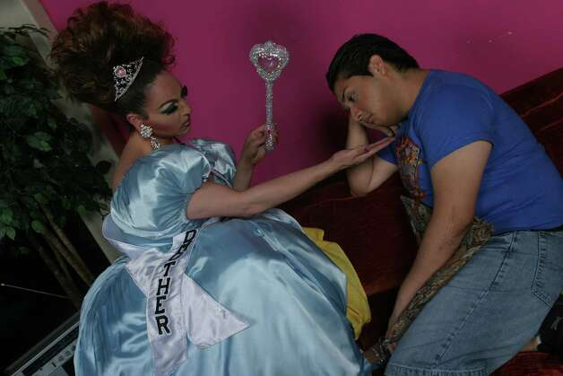 "With his fairy godmother (Erica Andrews), Chuy (Jaime Gonzalez) dreams of wearing the ultimate tiara in the play ""Miss America: A Mexicanito Fairy's Tale."" Photo: COURTESY PHOTO"