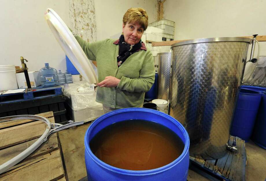 Sue Goold Miller of Goold Orchard shows the hard cider making process on Wednesday March 13, 2013 in Castleton-on-Hudson, N.Y. (Michael P. Farrell/Times Union) Photo: Michael P. Farrell