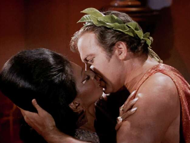 And there it is - the nation's first nationally televised interracial kiss.  Photo: CBS Photo Archive, Getty / 1966 CBS Photo Archive
