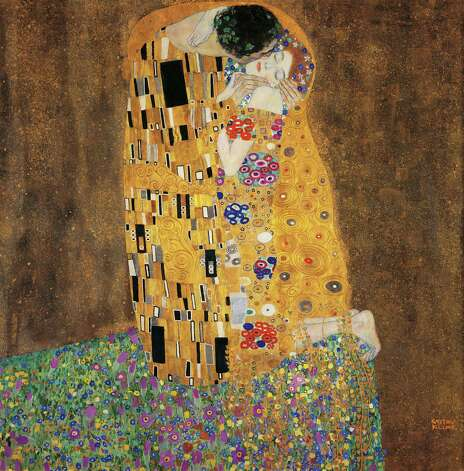 "Greatest painted kiss goes to Gustav Klimt (1862-1918). ""The kiss,"" shown in 1907. Photo: DEA / E. LESSING, Getty / De Agostini Editorial"