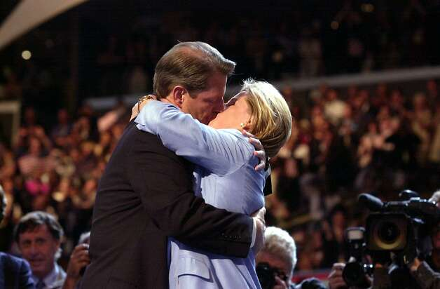 Not to be outdone, Al Gore kisses his wife Tipper after she introduced him to the Democratic National Convention at the Staples Center in 2000 in Los Angeles, Calif., as the Democratic choice for president. Photo: LUCY NICHOLSON, Getty / AFP