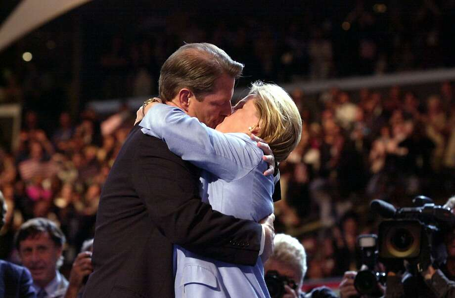 Not to be outdone, Al Gore kisses his wife Tipper after she introduced him to the Democratic National Convention at the Staples Center in 2000 in Los Angeles as the Democratic choice for president. Photo: LUCY NICHOLSON, Getty / AFP