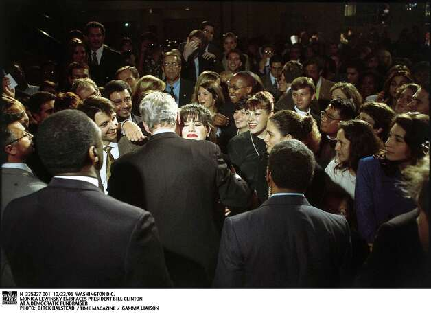 Lewinsky and Clinton embrace at a Democratic Fundraiser. Photo: Dirck Halstead, Getty / Getty Images North America