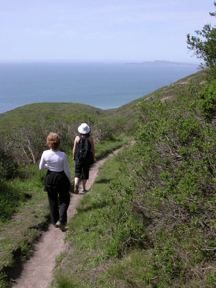 Woodward Trail routes down from ridge at Sky Trail to Coast Camp for panoramic ocean views