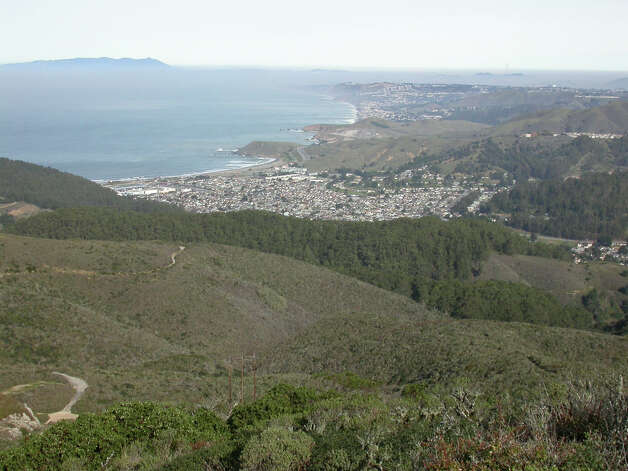 The view from San Pedro Ridge extends over Pacifica to Sutro Towers and to Mount Tam