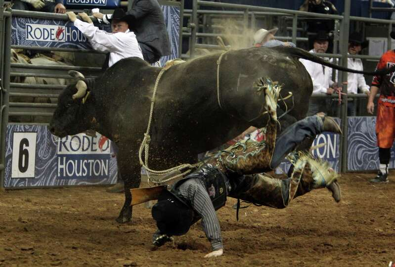 Ty Clearwater competes in Bull Riding during the BP Super Series Semifinals 1 at Reliant Stadium on