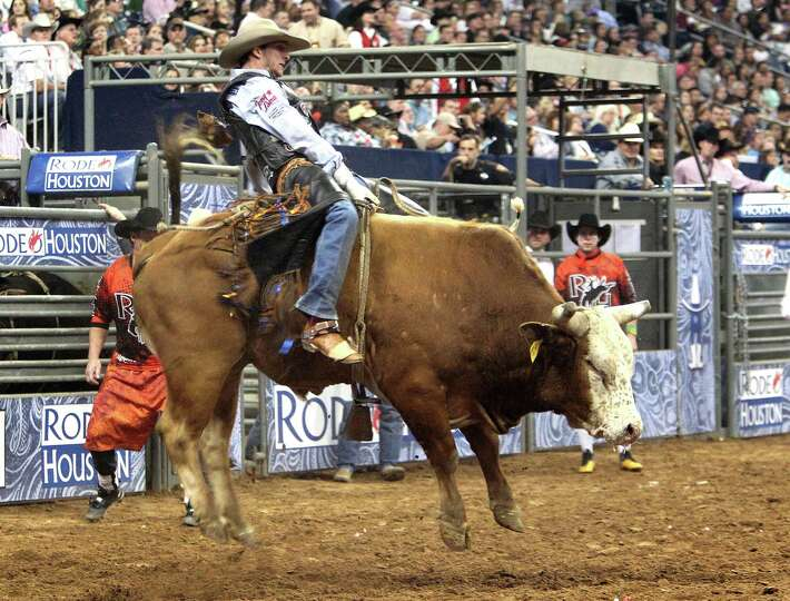 JW Harris competes in Bull Riding during the BP Super Series Semifinals 1 at Reliant Stadium on Wedn