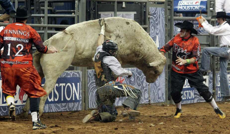Clayton Savage competes in Bull Riding during the BP Super Series Semifinals 1 at Reliant Stadium on