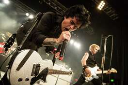 Vocalist / guitarist Billie Joe Armstrong of Green Day performs at Fox Theater on March 10, 2013 in Pomona, California.