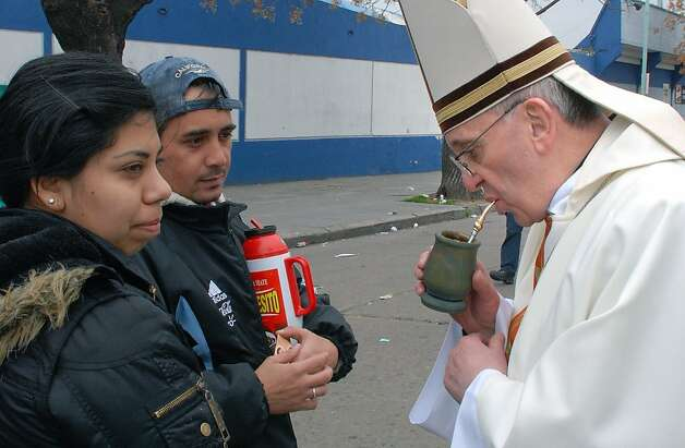 "Argentine Cardinal Jorge Mario Bergoglio drinks ""mate"" -traditional South American infused drink- in Buenos Aires on August 7, 2009. Bergoglio was named new Pope Francis I on March 3, 2013. Photo: Javier Raul Dresco, AFP/Getty Images"
