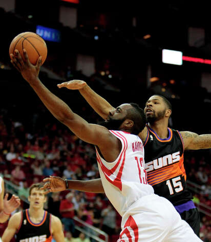March 13: Rockets 111, Suns 81James Harden drives in for a layup against the Suns. Photo: Billy Smith II, Chronicle / © 2013 Houston Chronicle