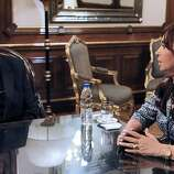 Undated file photo released by the Argentinian Presidency of Argentina's cardinal Jorge Mario Bergoglio meeting with Argentine President Cristina Fernandez de Kirchner in Buenos Aires. Bergoglio has been elected Pope on March 13, 2013, to replace the frail Benedict XVI as leader of the world's 1.2 billon Catholics.