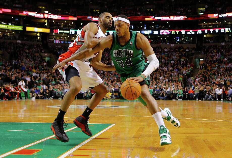 BOSTON, MA - MARCH 13: Paul Pierce #34 of the Boston Celtics drives to the basket against the Toronto Raptors during the game on March 13, 2013 at TD Garden in Boston, Massachusetts. NOTE TO USER: User expressly acknowledges and agrees that, by downloading and or using this photograph, User is consenting to the terms and conditions of the Getty Images License Agreement. (Photo by Jared Wickerham/Getty Images) Photo: Jared Wickerham