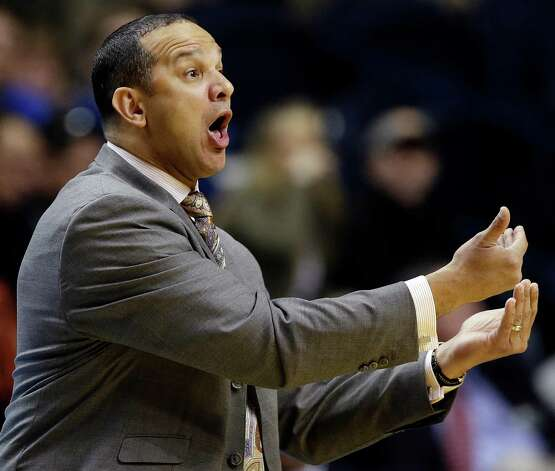 Auburn head coach Tony Barbee reacts to play against Texas A&M during the first half of an NCAA college basketball game at the Southeastern Conference tournament in Nashville, Tenn., Wednesday, March 13, 2013. (AP Photo/Dave Martin) Photo: Dave Martin, Associated Press / AP