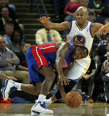 Detroit Pistons guard Rodney Stuckey drives into Golden State Warriors guard Jarrett Jack (2) in the first half of their NBA basketball game Wednesday, March 13, 2013, in Oakland Calif. Photo: Lance Iversen, The Chronicle