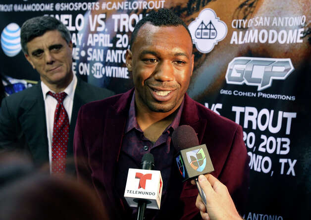 "Austin Trout answers questions at a promotional event for a title fight with Saul ""Canelo"" Alvarez at the Alamodome.   March 13, 2013. Photo: TOM REEL, San Antonio Express-News / San Antonio Express-News"