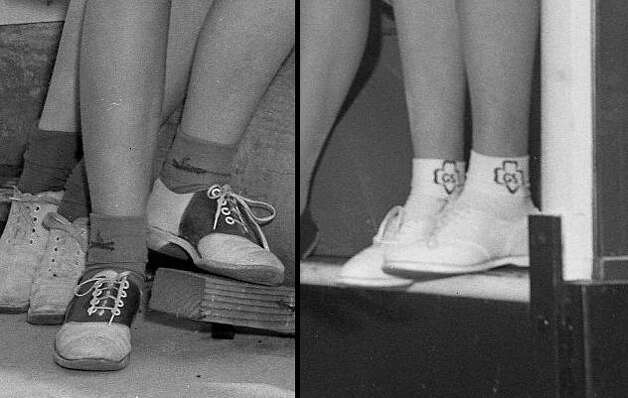 Evolution of Girl Scout socks, from 1942 and 1960. I like both of these a lot. The older campfire symbol is great -- especially with the saddle shoes. If the Scouts have extras, I would gladly take a three-pack of the trefoil symbol on the left and wear them when I play basketball. Photo: Chronicle Staff, The Chronicle / ONLINE_YES