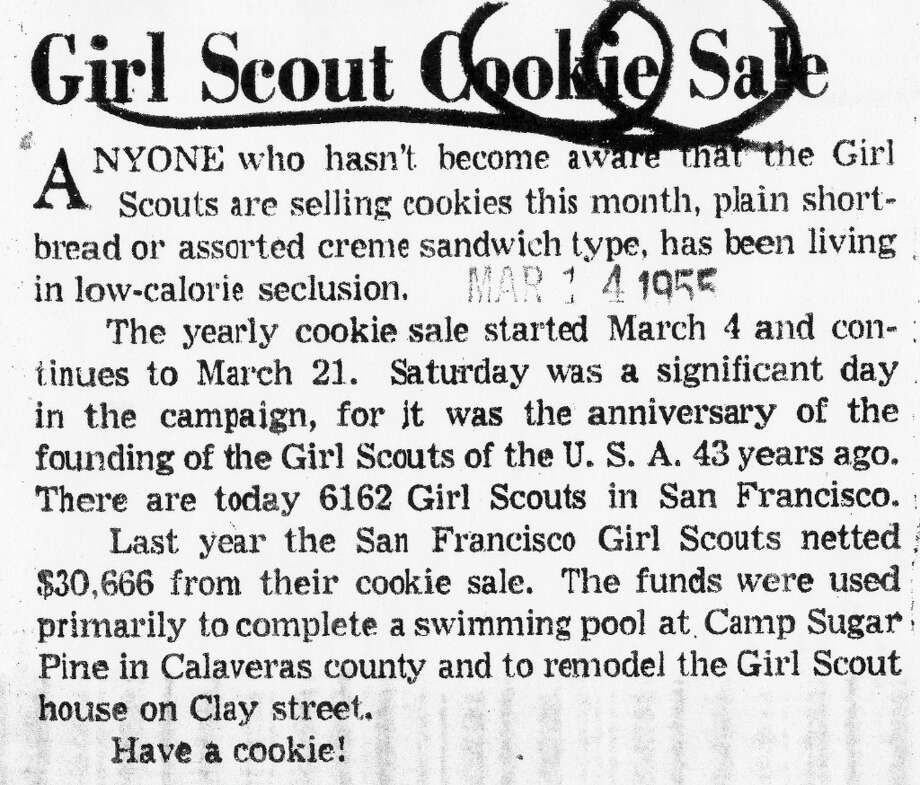 An editorial from the 1955 Chronicle about the Girl Scout cookie sales Photo: Chronicle Archives, The Chronicle / ONLINE_YES
