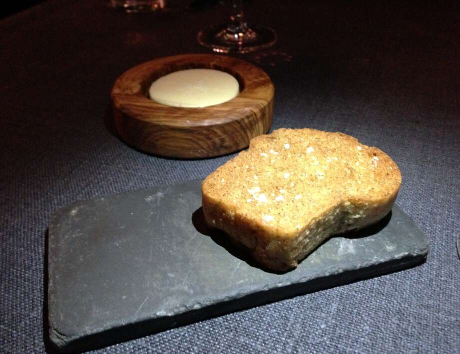 Buckwheat bread, one of three breads served throughout the dinner
