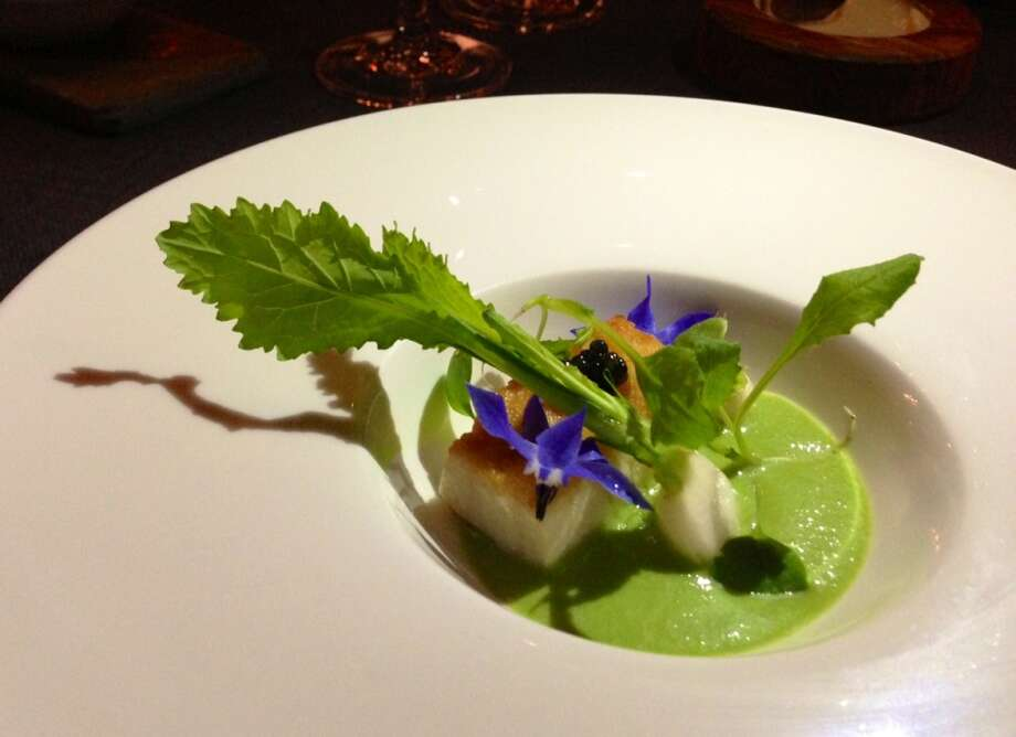 Stugeon with smoked green garlic and Tokyo turnips