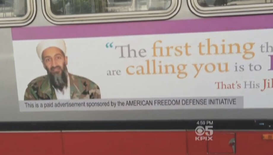 A controversy has been re-ignited this week as ten new ads go up on San Francisco Muni buses containing anti-Islamic quotes used by terrorists. Photo: CBS San Francisco