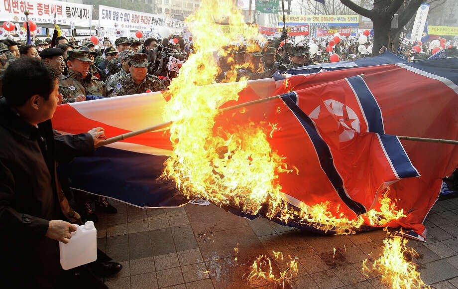 South Korean war veterans protest during an anti-North Korea rally on November 30, 2010 in Seoul, South Korea. South Korean and American military forces began war games exercises Sunday as tensions between the two Koreas remain high following an artillery exchange on the disputed island of Yeonpyeong on November 24. Photo: Chung Sung-Jun, Getty Images / 2010 Getty Images