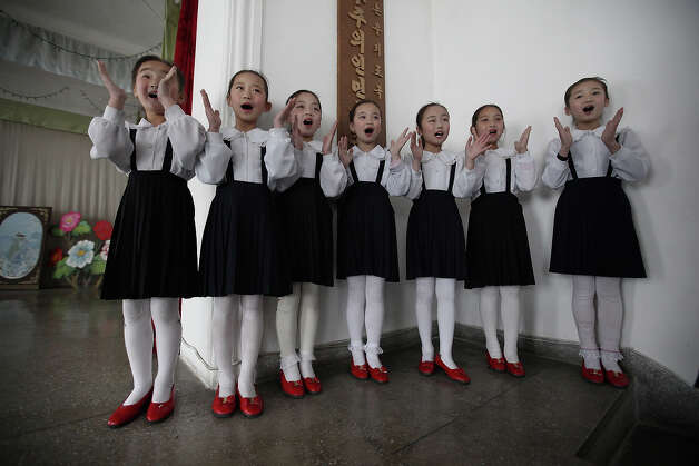 North Korean children perform in a primary school on April 2, 2011 in Pyongyang, North Korea. Pyongyang is the capital city of North Korea and the population is about 2,500,000. Photo: Feng Li, Getty Images / 2011 Getty Images