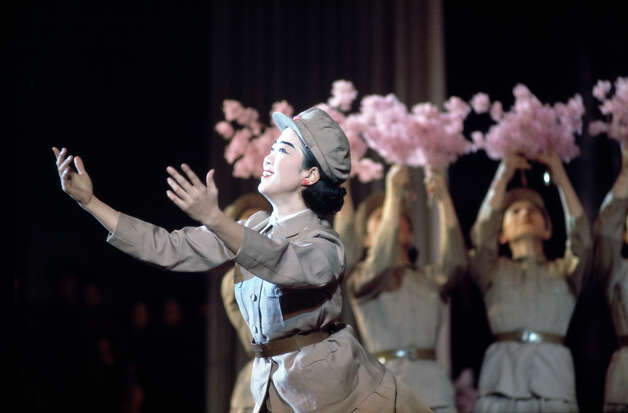 A group of dancers performing in uniform, North Korea, February 1973. Photo: John Bulmer, Getty Images / 2011 Getty Images