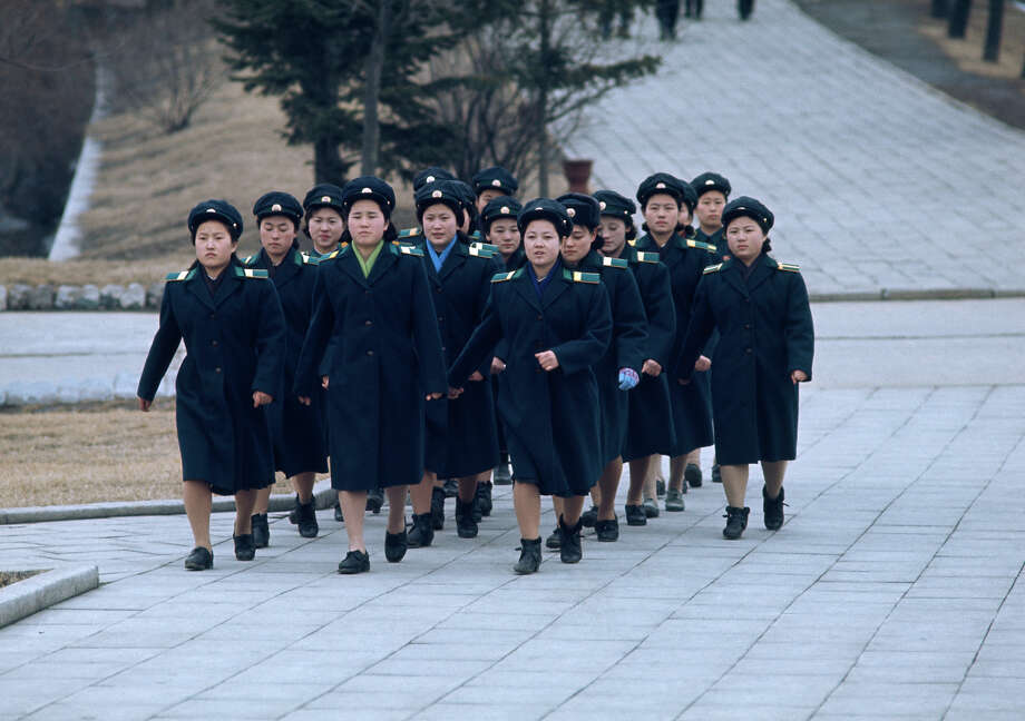 A group of North Korean women marching in uniform, North Korea, February 1973. Photo: John Bulmer, Getty Images / 2011 Getty Images