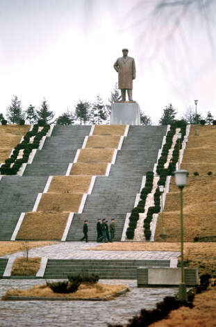 Steps leading up a hill to a statue of North Korean Communist leader Kim Il-sung, North Korea, February 1973. Photo: John Bulmer, Getty Images / 2011 Getty Images
