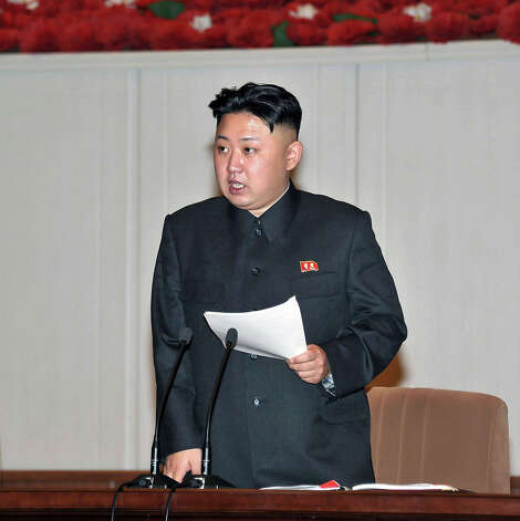 This picture, taken by North Korea's official Korean Central News Agency (KCNA) on January 29, 2013 shows North Korean leader Kim Jong Un addressing the Fourth Conference of Cell Secretaries of the Workers' Party of Korea (WPK) in Pyongyang. Photo: AFP, AFP/Getty Images / 2013 AFP