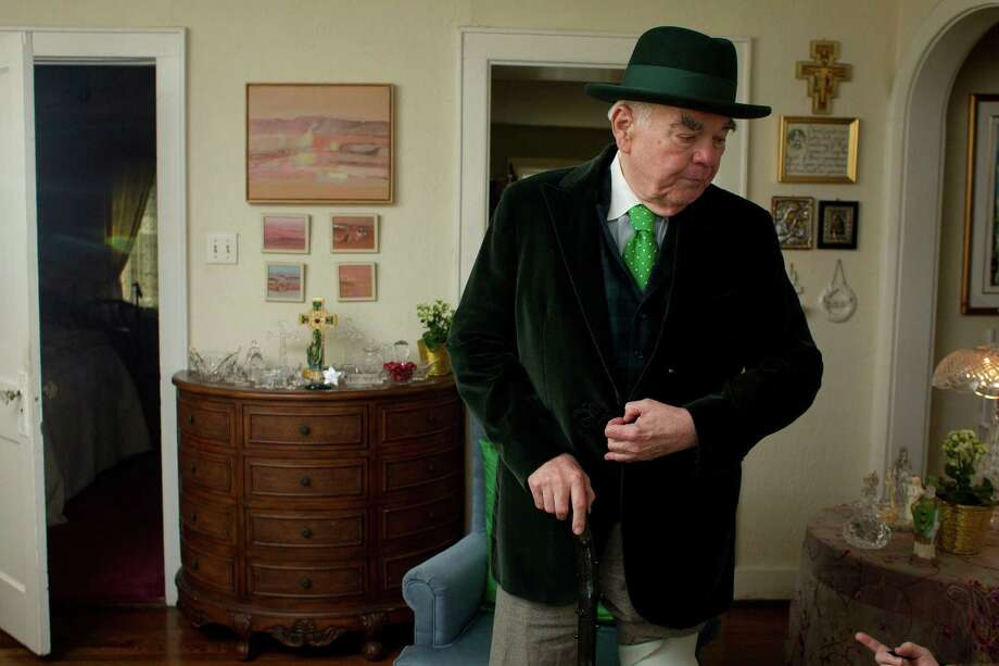 Tom Horan gets his St. Patrick's Day attire ready.  Photo: Johnny Hanson, Houston Chronicle / © 2013  Houston Chronicle