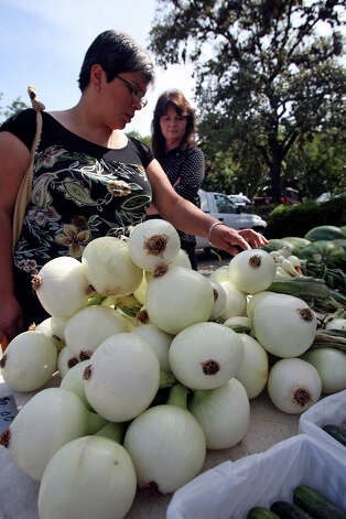 Jo Ann Martinez buys onions at the farmers' market at San Antonio Botanical Gardens parking lot on May 28, 2009. Photo: TOM REEL, SAN ANTONIO EXPRESS-NEWS / treel@express-news.net