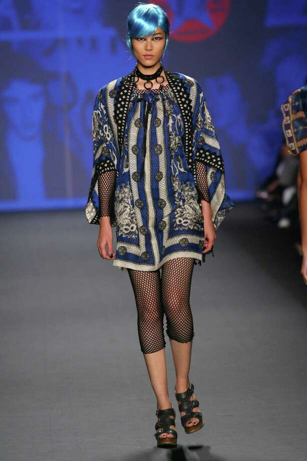 """ON THE RUNWAYAnna Sui drew from the 1964 film """"A Band of Outsiders"""" for inspiration for her spring collection, which exhibited Asian influences. Photo: Anna Sui"""